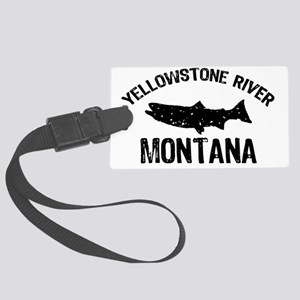 Trout Yellowstone River_BLACK Large Luggage Tag