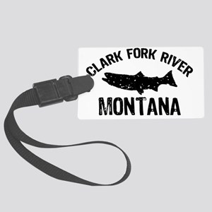 Trout Clark Fork River_BLACK Large Luggage Tag