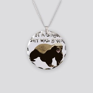 badger Necklace Circle Charm