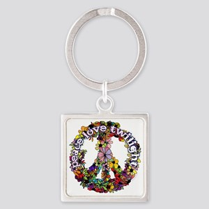 peace love flower peace sign white Square Keychain