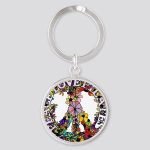 peace love pilates with flower peac Round Keychain