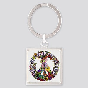 peace love pilates with flower pea Square Keychain