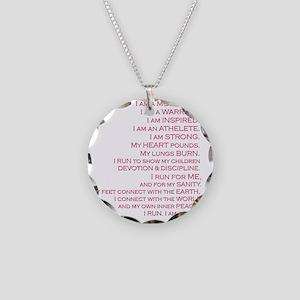 run_square_darkletters Necklace Circle Charm