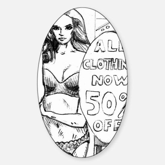 Hot Comic Book Style Girl Joke T-Sh Sticker (Oval)