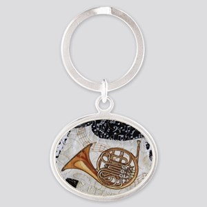 french-horn-ornament Oval Keychain