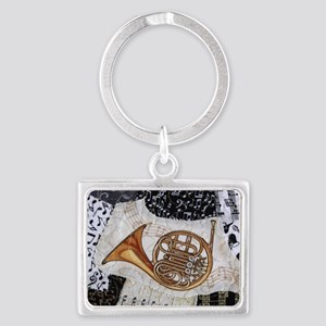 french-horn-ornament Landscape Keychain