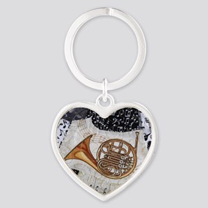 french-horn-ornament Heart Keychain