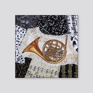 """french-horn-ornament Square Sticker 3"""" x 3"""""""