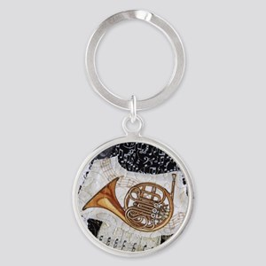french-horn-ornament Round Keychain