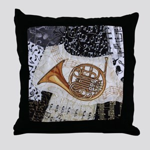 french-horn-ornament Throw Pillow