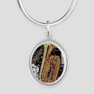 tuba-ornament Silver Oval Necklace