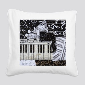 keyboard-sitting-cat-ornament Square Canvas Pillow