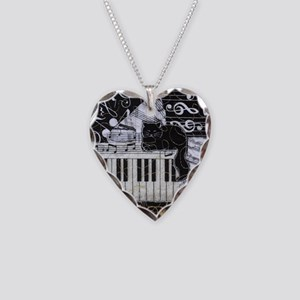 keyboard-sitting-cat-ornament Necklace Heart Charm