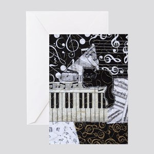 keyboard-sitting-cat-ornament Greeting Card