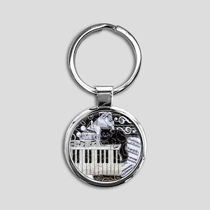 keyboard-sitting-cat-ornament Round Keychain