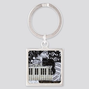 keyboard-sitting-cat-ornament Square Keychain