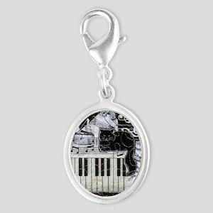 keyboard-sitting-cat-ornament Silver Oval Charm