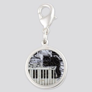 keyboard-sitting-cat-ornament Silver Round Charm