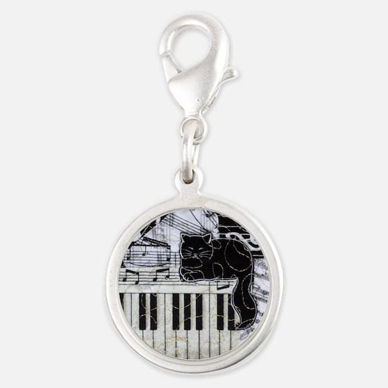 keyboard-sitting-cat-ornament Silver Round Charm