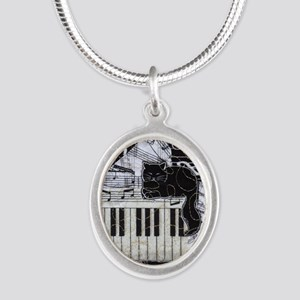 keyboard-sitting-cat-ornament Silver Oval Necklace