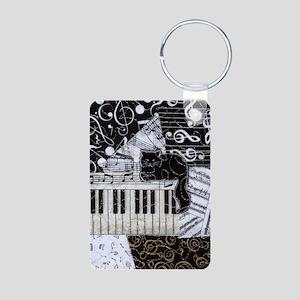 keyboard-sitting-cat-ornam Aluminum Photo Keychain