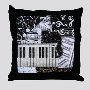 keyboard-sitting-cat-ornament Throw Pillow
