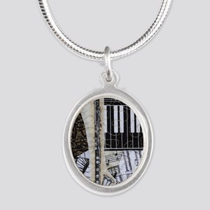 bass-clarinet-ornament Silver Oval Necklace