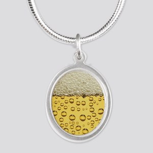 Beer Bubbles Silver Oval Necklace