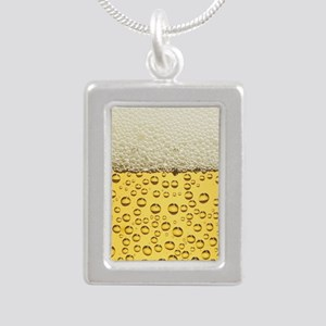Beer Bubbles Silver Portrait Necklace