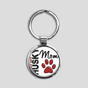 D Siberian Husky Mom 2 Round Keychain