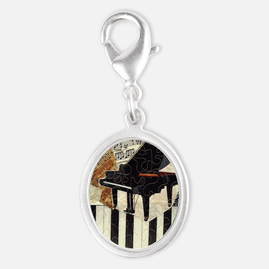 Piano9x7 Silver Oval Charm