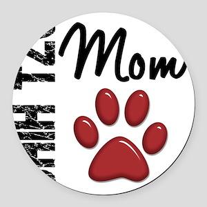 D Shih Tzu Mom 2 Round Car Magnet