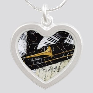 Trombone-ornament Silver Heart Necklace