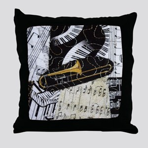 Trombone-ornament Throw Pillow
