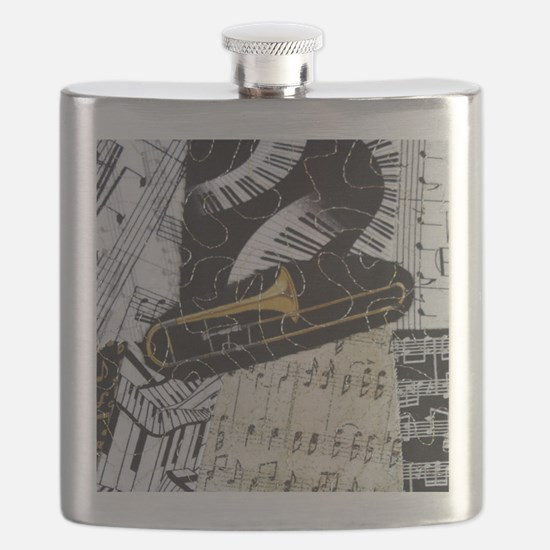 Trombone-ornament Flask