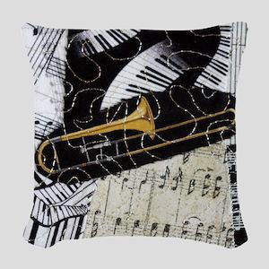 Trombone-ornament Woven Throw Pillow