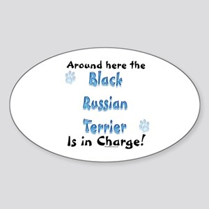 Black Russian Charge Oval Sticker