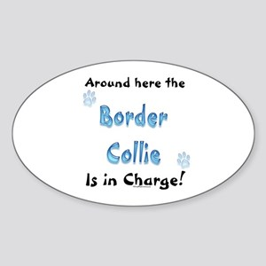 Border Collie Charge Oval Sticker