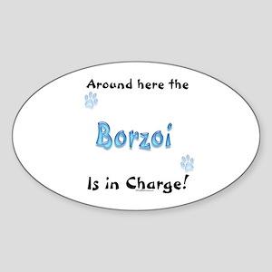 Borzoi Charge Oval Sticker