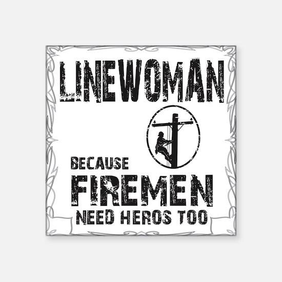 "lineman because 3 Square Sticker 3"" x 3"""