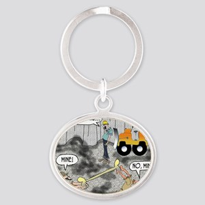 8424_quarry_cartoon Oval Keychain