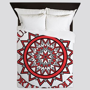 patchwork finished redwhite Queen Duvet