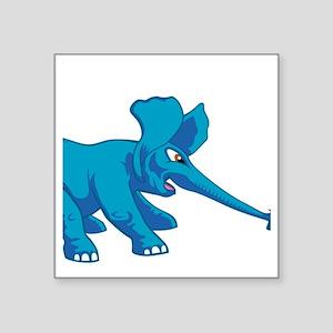 "elephant_tug_butt_solblue Square Sticker 3"" x 3"""