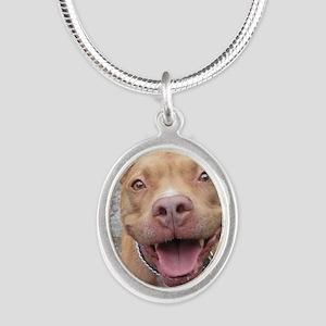 Bailey Smiley-Card Silver Oval Necklace