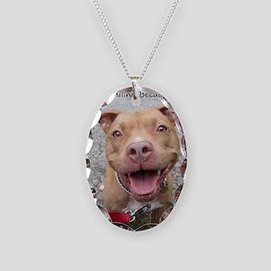 Bailey Smiley-Card Necklace Oval Charm