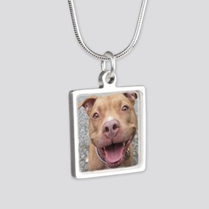 Bailey Smiley-Card Silver Square Necklace