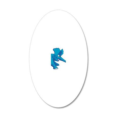 elephant_tug_keych_BlueF 20x12 Oval Wall Decal
