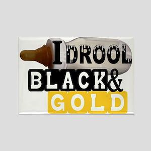 black  gold Rectangle Magnet