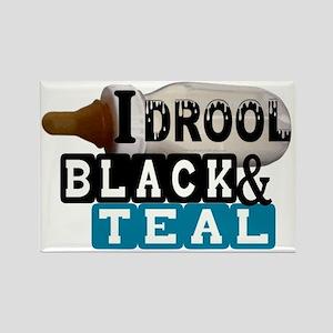 black  teal Rectangle Magnet