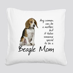 Beagle Mom Square Canvas Pillow